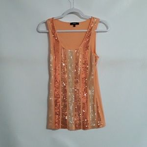 Express orange tank top with sequins. Size L